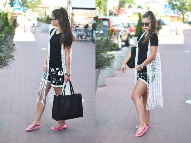 miejska letnia stylizacja czarno-biala