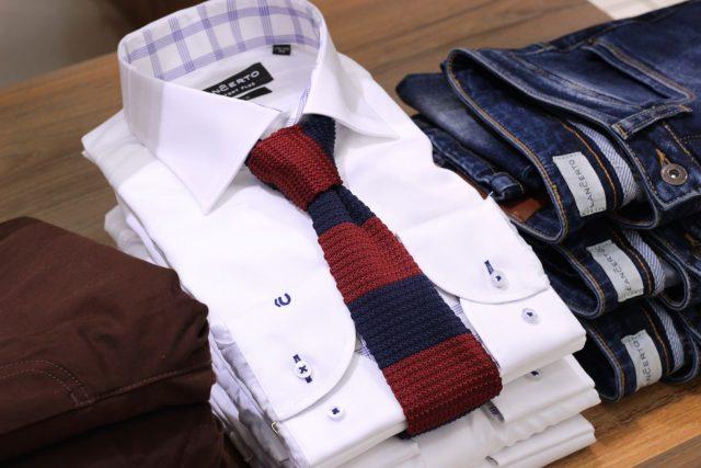 Koszula męska i krawat dzianinowy Lanĉerto (koszula od 149,90 zł, krawat 99,90 zł)