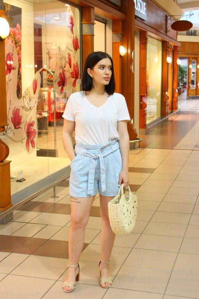 jeansowe szorty stylizacja
