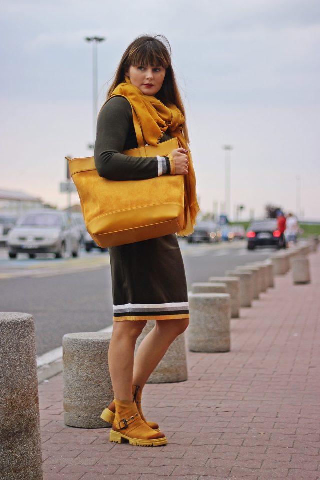 jesienna stylizacja z sukienką